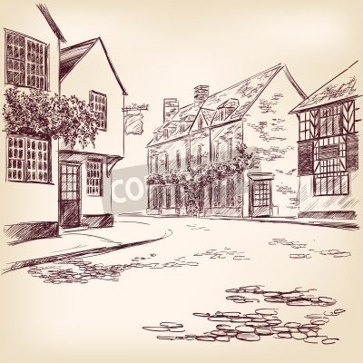 Poster old English street  hand drawn