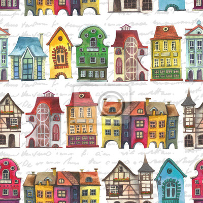Old europe houses seamless pattern. Set of watercolor colorful european amsterdam style houses isolated on white background. Watercolour hand drawn Netherlands stylized facades of old buildings