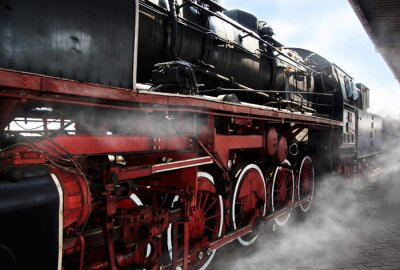 Poster Old locomotive wheels