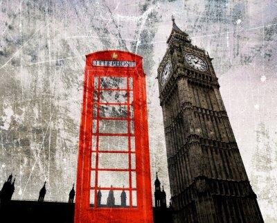 Poster Old London Composing Telefonzelle und Big Ben