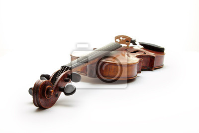 Old scratched violin, isolated on white background.