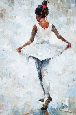 Poster Ölgemälde, Mädchen Ballerina. Gezeichnetes niedliches Ballerina-Tanzen