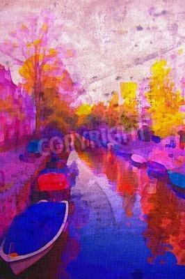 Ölgemälde von Amsterdam Kanal frühen Morgenlicht
