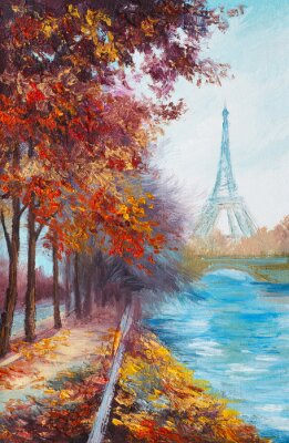 Poster Ölgemälde von Eiffelturm, Frankreich, Herbst Landschaft