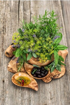 Poster Oliven, Öl, Basilikum, Dill, Salbei, Lavendel, Minze. Kräuter und Gewürze
