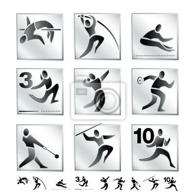 Rabatt bis zu 60% gut aussehen Schuhe verkaufen neue sorten Poster: Olympische spiele 4: sommer sportarten piktogramme silber:  leichtathletik