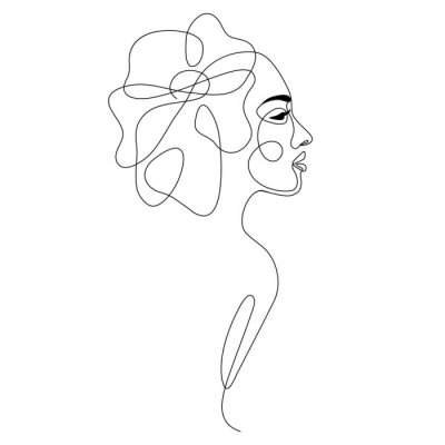 Poster One line drawing abstract woman face with flower in her hair. Continuous line art female portrait. Modern minimalism, aesthetic contour. Vector beauty illustration
