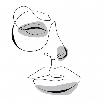 Poster One line drawing face. Modern minimalism art, aesthetic contour. Abstract woman portrait minimalist style. Single line vector illustration