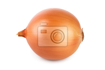 Poster One yellow onion isolated on white background close up