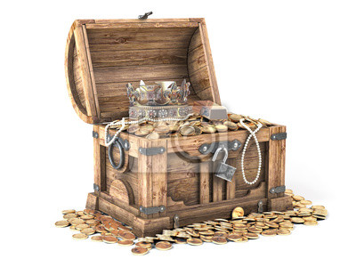 Poster Open treasure chest filled with golden coins, gold and jewelry isolated on white background.