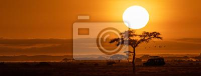 Poster Orange Sunset Safari Vehicle Horizontal Web Banner