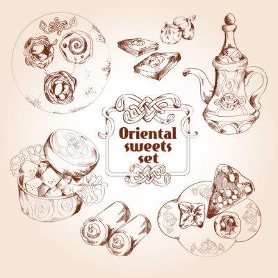 Poster Oriental Süßigkeiten Skizze Satz