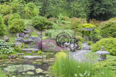 Orientalischen Stil Steingarten Mit Einem Kleinen Teich Stein