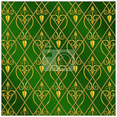Ornament-tapete grün wandposter • poster Würde, edel ...