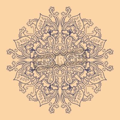 Poster Ornamentale runden floralen Lochmuster. kaleidoskopische Blumenmuster, Mandala.