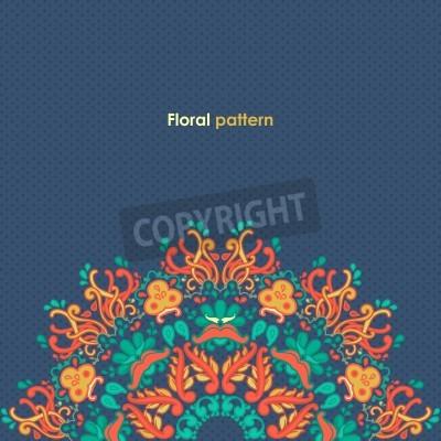 Poster Ornamentale runden floralen Lochmuster kaleidoskopischen Blumenmuster, mandala