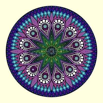 Poster ornamentale runden Spitzen Muster, Kreis Hintergrund mit vielen Details, sieht aus wie Häkeln handgemachte Spitze