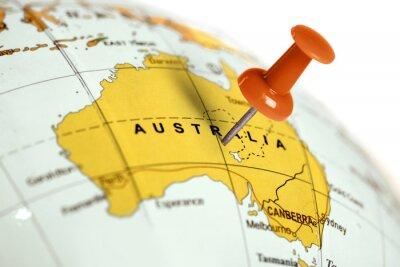 Poster Ort Australien. Auf der Karte Red Pin.
