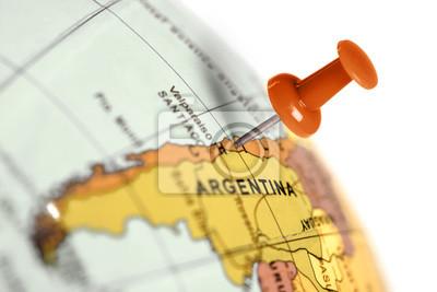 Ort Chile. Auf der Karte Red Pin.