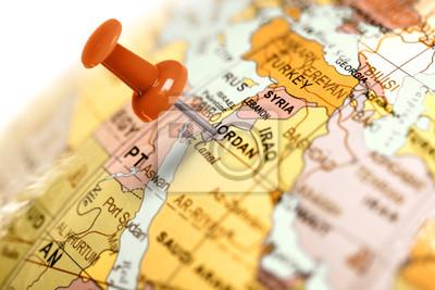 Ort Jordanien. Auf der Karte Red Pin.