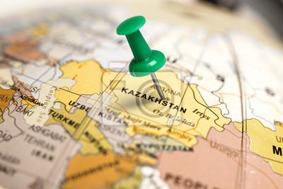 Ort Kasachstan. Auf der Karte grün Pin.