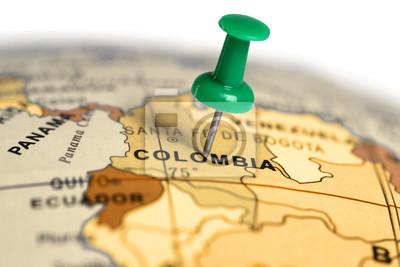 Ort Kolumbien. Auf der Karte grün Pin.
