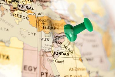 Ort Libanon. Auf der Karte grün Pin.
