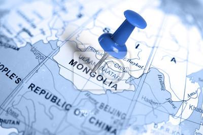 Ort Mongolei. Auf der Karte blau Pin.