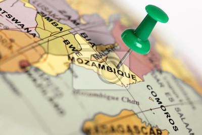 Ort Mosambik. Auf der Karte grün Pin.