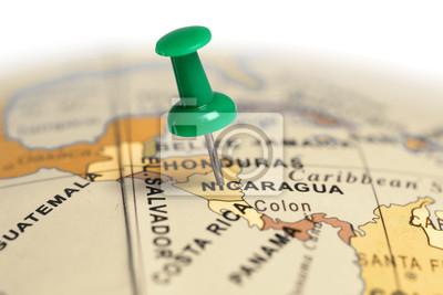 Ort Nicaragua. Auf der Karte grün Pin.