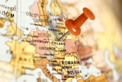 Ort Polen. Auf der Karte Red Pin.