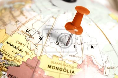Ort Russland. Auf der Karte Red Pin.