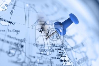 Ort Schweden. Auf der Karte blau Pin.
