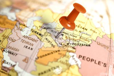Ort Usbekistan. Auf der Karte Red Pin.