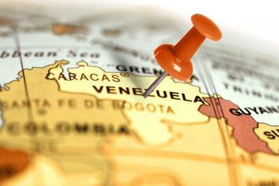 Poster Ort Venezuela. Auf der Karte Red Pin.