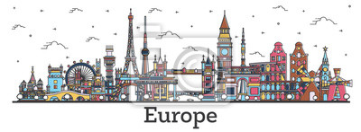 Poster Outline Famous Landmarks in Europe. Business Travel and Tourism Concept with Color Buildings.
