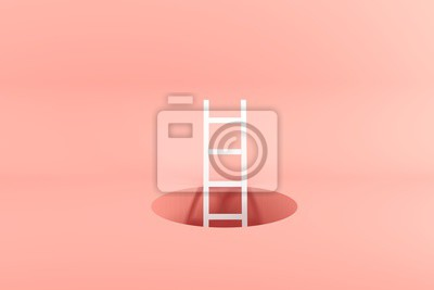 Poster Outstanding white ladder standing inside hole on pink background. Minimal conceptual idea concept. 3D Render.