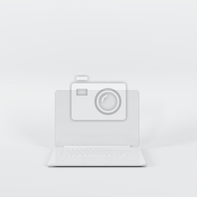 Poster Outstanding white laptop on white background. All white minimal concept.