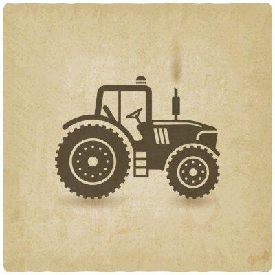 Poster Ovalen Etikett mit der Landschaft. Traktor auf dem Feld