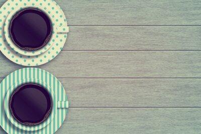 Poster Paar Kaffeetassen auf Holztisch