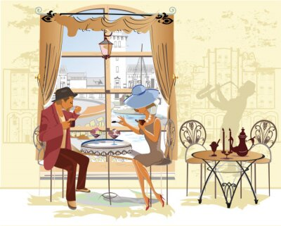 Poster Paar, Mann und Frau, im Café.