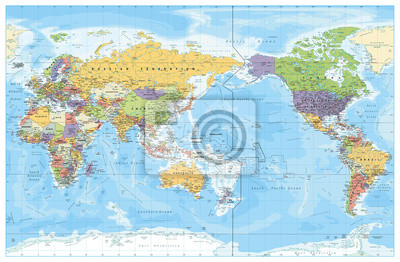 Poster Pacific Centred World Political Map. Countries and capitals, cities, borders and water objects, state outline. Detailed World Map vector illustration.
