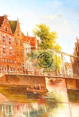 Painting depicting medieval Amsterdam canal in the Netherlands