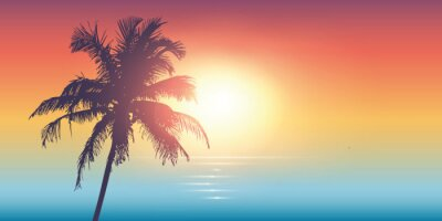 Poster palm trees silhouette on a sunny day summer holiday design vector illustration EPS10