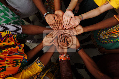 Poster Palms up hands of happy group of multinational African, latin american and european people which stay together in circle