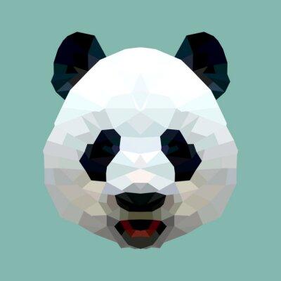 Poster Panda Kopf Polygon isolierten Vektor-