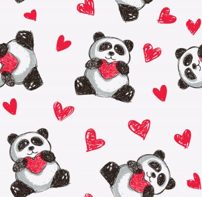 Poster Panda mit Herz nahtlose Hintergrund
