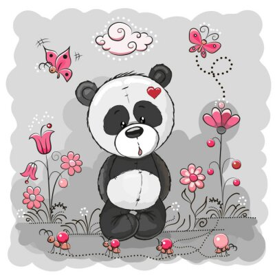 Poster Panda with flowers