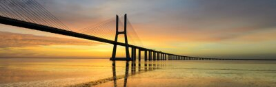 Panorama Bild der Vasco da Gama-Brücke in Lissabon