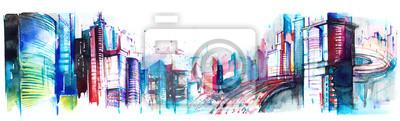 Poster Panorama der Stadt